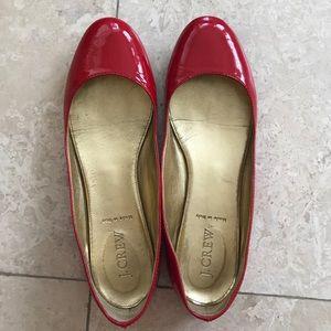 J. Crew patent leather flats, red, 7